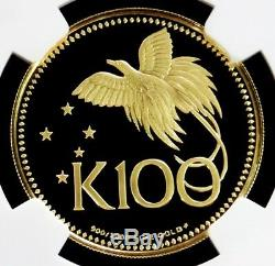 1975 Fm Gold Papua New Guinea 100 Kina Coin Ngc Proof 70 Ultra Cameo