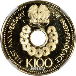 1976 FM Papua New Guinea Gold Independence Anniversary 100 Kina NGC PF69 UCAM