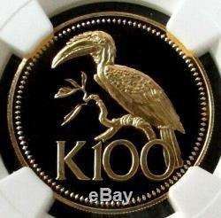 1977 Gold Papua New Guinea 100 Kina Papuan Hornbill Ngc Proof 68 Ultra Cameo
