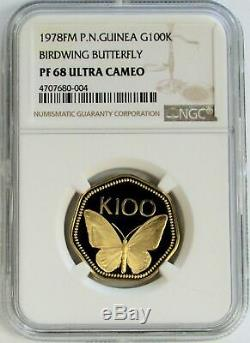 1978 Gold Papua New Guinea 100 Kina Butterfly Coin Ngc Proof 68 Ultra Cameo