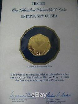 1978 Papua New Guinea 100 Kina Proof Gold Coin with Certs