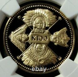 1979 Gold Papua New Guinea 100 Kina Nations 4 Faces Ngc Proof 70 Ultra Cameo