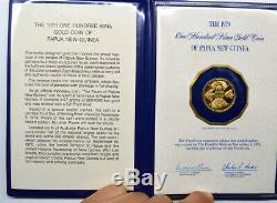 1979 PAPUA NEW GUINEA 100 KINA GOLD Proof w Original Folder&COA Low Mint 3,492