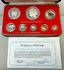 1982 Papua New Guinea 8 Coin Proof Set withBox and COA Rare Set