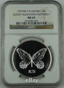 1992 FM Papua New Guinea Silver 5 Kina Proof Coin, NGC MS-69, K5 Butterfly