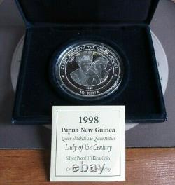 1998 Queen Mother Silver Proof 1998 Papua New Guinea 10 Kina 5oz Coin Box&COA