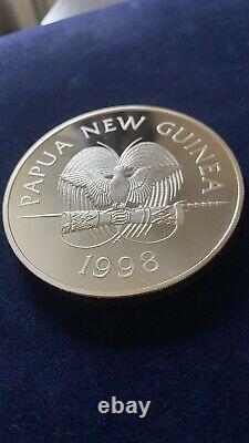 5oz 1998 Papua New Guinea. 999 Fine Silver Proof 10 Kina Coin