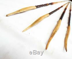 Antique Four Set of Cassowary Bone Head Hunting Tipped Arrows Papua New Guinea