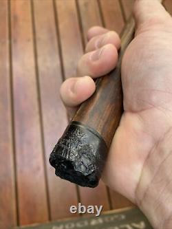 Antique Stone Head War Club Papua New Guinea with Incised Written Spell