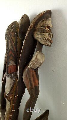 Antique Wooden Tribal Papua New Guinea Hook Statue Carving