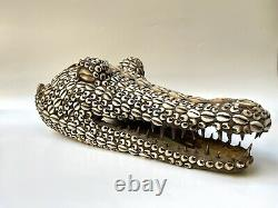 Antique rear Papua New Guinea ceremonial alligator head mask seashell 19-20th C