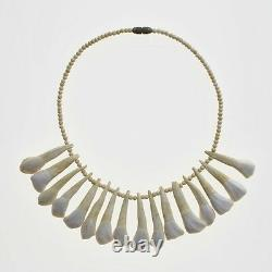 Asmat Sixteen Animal Teeth Necklace with Beads Possibly Buffalo Vintage Jewlery