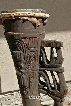 Asmat Tribal Wooden Drum, Irian Jaya, Papua New Guinea Art