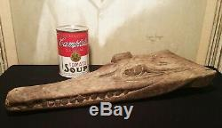BOAT PROW antique papua new guinea wood tiki crocodile vtg pacific tribal art