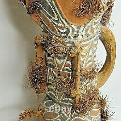 Carved Painted Grass Wood Drum Lizard Skin Papua New Guinea 24 Vintage Rare
