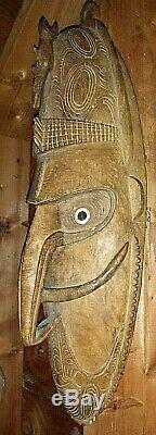 Genuine Old Papua New Guinea Sepik River Region Spirit Mask Tribal Ramu Kopar