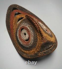Good Small Oceanic Polynesian Papua New Guinea Woven Rattan Painted Yam Mask