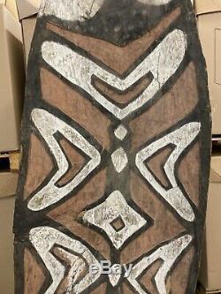 Huge 72 Hand Carved Wooden Asmat Shield Papua New Guinea
