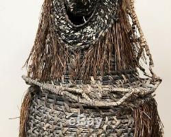 Large Antique Woven Tribal Mask Sepik River 1960s Papua New Guinea