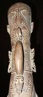 Lower Ramu Kundu drum with 10 masked faces Papua New guinea