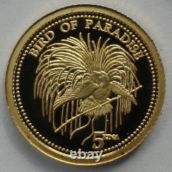 ORIGINAL 2011 PAPUA NEW GUINEA 5 Kina Bird of Paradise 1/25 oz gold 24K RARE