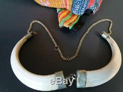 Old Papua New Guinea Double Boar Necklace beautiful accent and collection piece