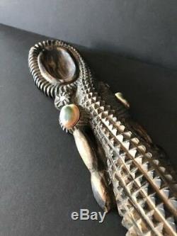 Old Papua New Guinea Trobriand Islands Carved Ebony Folding Crocodile
