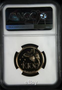 Only one top pop! 1975 FM GOLD PAPUA NEW GUINEA 100 KINA COIN NGC MS 70