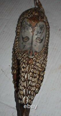 Orig $499 PAPUA NEW GUINEA MWAI MASK, HAIR, SHELLS EARLY 1900S LARGEST 14