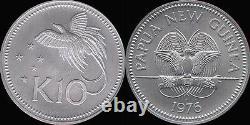 Papua New Guinea 1976 10 Kina, Rare Matte BU, Mintage 82 Pcs struck Few Released