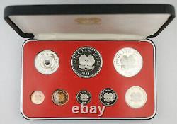Papua New Guinea 1983 8 Coin Proof Set with Silver 10 & 5 Kina Coin + BOX & COA