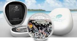 Papua New Guinea 2014 10 Kina PRECIOUS PEARL CRANES Shell Money 3 Oz Silver Coin