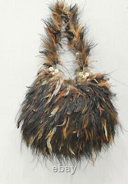 Papua New Guinea Bilum Bag Woven Fiber Chicken Feather Goroka