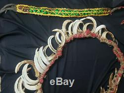 Papua New Guinea Boars Tusk Chieftain Necklace and Green Beetle Headband