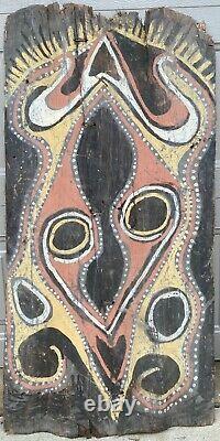 Papua New Guinea Double Panel Bark Painting Midcentury Indigenous Sepik River