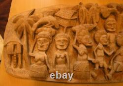 Papua New Guinea Kipa Gaindimi Story Board hand Carved Wood Panel