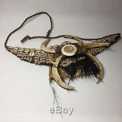 Papua New Guinea Old Tribal Dani Witchcraft Cowrie Shell Natural Fiber Head Hunt