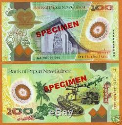 Papua New Guinea, SPECIMEN, POLYMER, 100 Kina, 2005 UNC Rare
