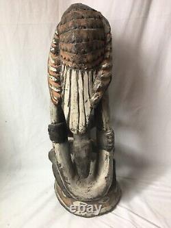 Papua New Guinea Sepik River Carved Wooden Man Statue w Bird Tribal Art 22
