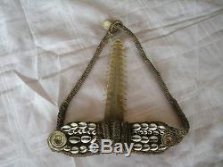 Papua New Guinea Sepik River traditional swordfish headdress woven cowry shells