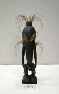 Papua New Guinea Statue Kore Figure Ramu River Feathers Diety Amulet Statue