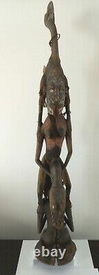 Papua New Guinea Tribal Carved Wooden Totem Statue Figure