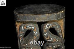 Rare Fabulous Carved Wood Ornate Stool, Blackwater, Papua New Guinea, Oceanic