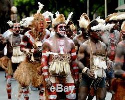 Rare Jipea Tribal Asmat Mask Papua New Guinea Head Hunter Irian Jaya Art