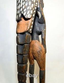 Rare Papua New Guinea Vint Iatmul Kambot Female Ancestor & Seabird Wood Carving