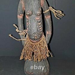 Sepik River Papua New Guinea Carved Painted Female Ancestor Figure 15.5 Inch