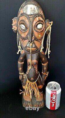 Sepik River Papua New Guinea Carved Painted Female Ancestor Figure 18 Inch