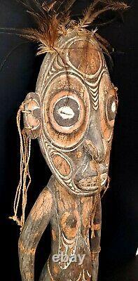 Sepik River Papua New Guinea Carved Painted Female Ancestor Figure 22 Inch