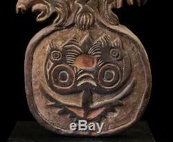 Spirit board, carved wood pannel, keram river, papua new guinea