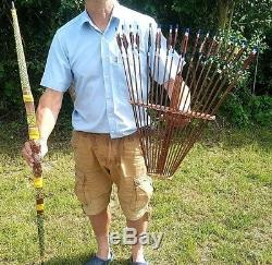 Traditional Recurve Archery Set With 20 Arrows Plus Holder (hand Painted)